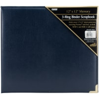 "Pioneer 3-Ring Sewn Cover Album 12""X12""-Navy Blue Oxford"