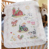 "Bucilla Stamped Cross Stitch Crib Cover Kit 34""X43""-On The Farm"
