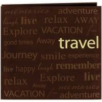 "Pioneer Text Faux Suede Post Bound Album 12""X12""-Travel"