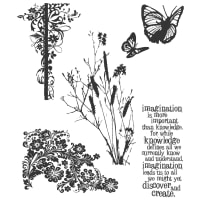 "Tim Holtz Cling Stamps 7""X8.5""-Nature's Discovery"