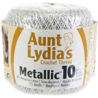 Aunt Lydia's Metallic Crochet Thread Size 10-White & Silver