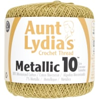 Aunt Lydia's Metallic Crochet Thread Size 10-Gold & Gold