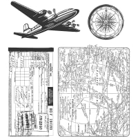 "Tim Holtz Cling Stamps 7""X8.5""-Air Travel"