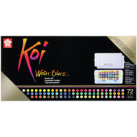 Koi Water Colors Studio Sketch Box W/2 Brushes - 72 Colors-Assorted Colors