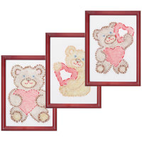 """Jack Dempsey Stamped Embroidery Kit Samplers 6""""X8"""" 3/Pkg-Fuzzy Bears"""