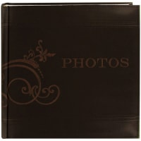 "Pioneer Embroidered Scroll Leatherette Photo Album 8""X8""  -Brown"