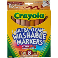 Crayola Ultra-Clean Color Max Broad Line Washable Markers-Multicultural 8/Pkg