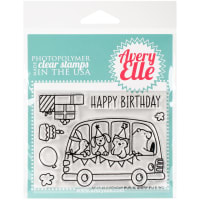 """Avery Elle Clear Stamp Set 4""""X3""""-Birthday Bus"""