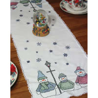 """Fairway Stamped Lace Edge Table Runner 15""""X42""""-Snowman"""