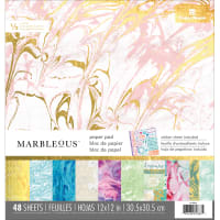 "Paper House Double-Sided Paper Pad 12""X12"" 48/Pkg-Marbleous"