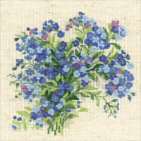 """RIOLIS Counted Cross Stitch Kit 7.75""""X7.75""""-Forget Me Nots (14 Count)"""