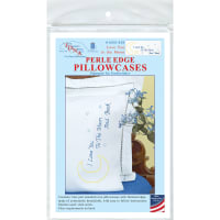 Jack Dempsey Stamped Pillowcases W/White Perle Edge 2/Pkg-Love You To The Moon