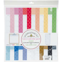 "Doodlebug Double-Sided Paper Pack 12""X12"" 13/Pkg-Daily Doodles Rainbow Calendar"