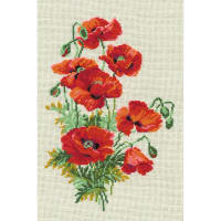 """RIOLIS Counted Cross Stitch Kit 8.25""""X11.75""""-Wild Poppies (15 Count)"""