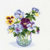 """RIOLIS Counted Cross Stitch Kit 7.75""""X7.75""""-Pansies (15 Count)"""