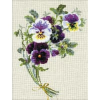 """RIOLIS Counted Cross Stitch Kit 9.5""""X11.75""""-Bunch Of Pansies (14 Count)"""