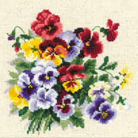 """RIOLIS Counted Cross Stitch Kit 7.75""""X7.75""""-Pansy Medley (14 Count)"""