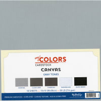 "My Colors Canvas Cardstock Bundle 12""X12"" 18/Pkg-Gray Tones"