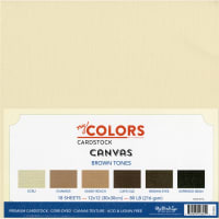 "My Colors Canvas Cardstock Bundle 12""X12"" 18/Pkg-Brown Tones"