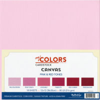 "My Colors Canvas Cardstock Bundle 12""X12"" 18/Pkg-Pink & Red Tones"