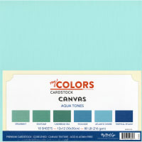 "My Colors Canvas Cardstock Bundle 12""X12"" 18/Pkg-Aqua Tones"