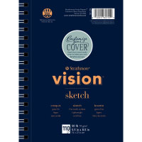"Strathmore Vision Fine Tooth Sketch Pad 5.5""X8.5""-50lb, 110 Sheets"