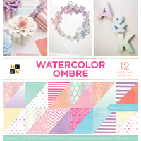 "DCWV Double-Sided Cardstock Stack 12""X12"" 36/Pkg-Watercolor Ombre, 18 Designs/2 Each"