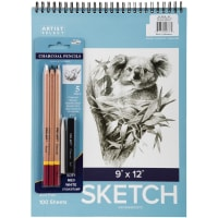 "Artist Select Sketch Pad 9""X12"" & 5pc Charcoal Pencil Set-100 Sheets"
