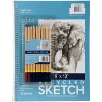 "Artist Select Sketch Pad 9""X12"" & 10pc Sketching Pencil Set-75 Sheets"