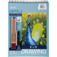 "Artist Select Drawing Pad 9""X12"" & 5pc Charcoal Pencil Set-50 Sheets"