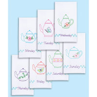 "Jack Dempsey Stamped Decorative Hand Towels 15""X30"" 7/Pkg-Teapots Of The Week"