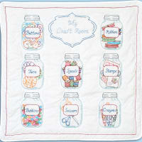 """Jack Dempsey Stamped White Wall Or Lap Quilt 36""""X36""""-Mason Jars"""