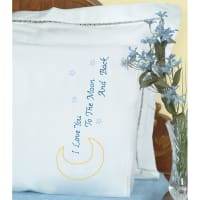 Jack Dempsey Stamped Pillowcases W/White Lace Edge 2/Pkg-Love You To The Moon