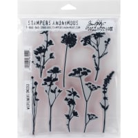 "Tim Holtz Cling Stamps 7""X8.5""-Wildflowers"