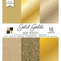 "DCWV Single-Sided Cardstock Stack 6""X6"" 18/Pkg-Solid Golds, 6 designs/3 each"