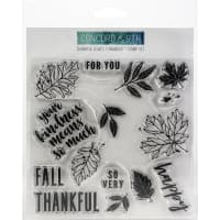 "Concord & 9th Clear Stamps 6""X6""-Thankful Leaves Turnabout"