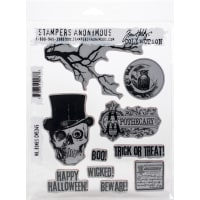 "Tim Holtz Cling Stamps 7""X8.5""-Mr. Bones"