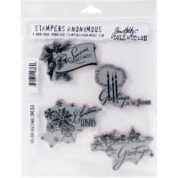 "Tim Holtz Cling Stamps 7""X8.5""-Holiday Greetings"