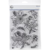 "Pinkfresh Studio Clear Stamp Set 6""X8""-Fancy Blooms"