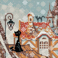 "RIOLIS Diamond Mosaic Embroidery Kit 7.75""X7.75""-City & Cats Winter"