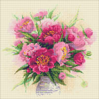 "RIOLIS Diamond Mosaic Embroidery Kit 15""X15""-Peonies In A Vase"