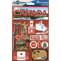 "Reminisce Jet Setters Country Dimensional Stickers 4.5""X7.5""-Canada"