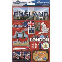 """Reminisce Jet Setters Country Dimensional Stickers 4.5""""X7.5""""-England"""