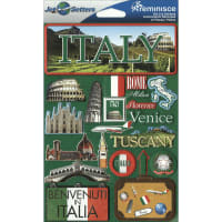 """Reminisce Jet Setters Country Dimensional Stickers 4.5""""X7.5""""-Italy"""