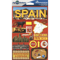 """Reminisce Jet Setters Country Dimensional Stickers 4.5""""X7.5""""-Spain"""