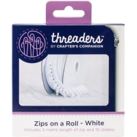 Crafter's Companion Threaders Zips On A Roll 5m-White