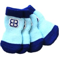 Petego Traction Control Indoor Socks For Dogs 4/Pkg-X-Small Blue/Light Blue