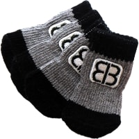 Petego Traction Control Indoor Socks For Dogs 4/Pkg-X-Large Black/Gray