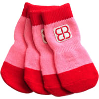 Petego Traction Control Indoor Socks For Dogs 4/Pkg-X-Large Red/Pink