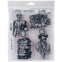 "Tim Holtz Cling Stamps 7""X8.5""-Time Travelers"